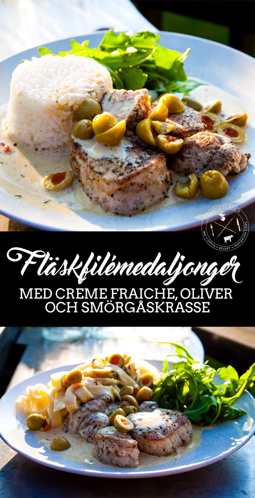 Fläskfilémedaljonger med creme fraiche, oliver och smörgåskrasse