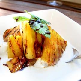 Grillad ananas med glass