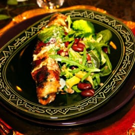Baconlindad lax med matvetesallad