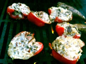 Fyllda grillade paprikor