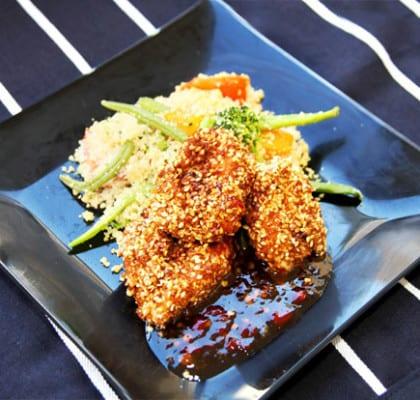 Panerad kyckling med grönsakscouscous