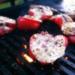 Fyllda grillade paprikor med vitlöksfrästa skogschampinjoner och citron