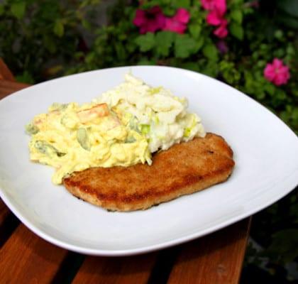 Skinkschnitzel med rustik curryremoulad och stomp