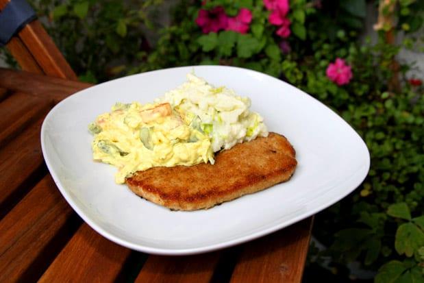 Skinkschnitzel med rustik curryremoulad