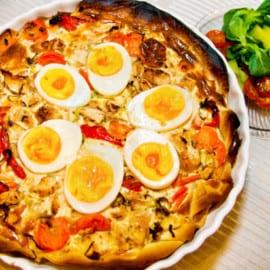 Påskig ägg- och kycklingpaj