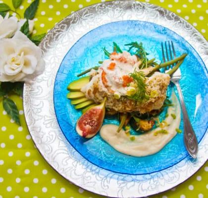 Torskfilé med primörer, fikon, skaldjursröra och rotsellerimousse