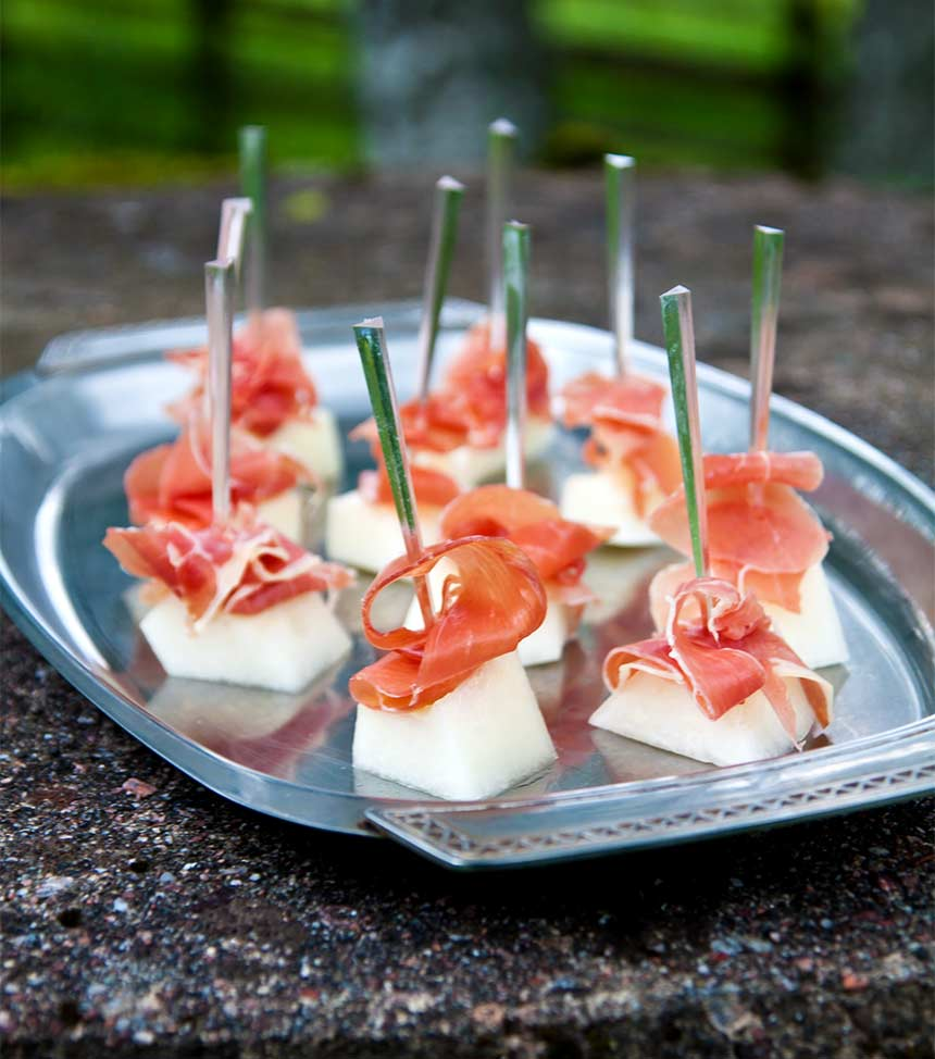 Aptitretare med melon och lufttorkad skinka