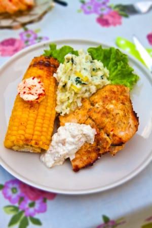 Grillad kyckling med chilismör och palsternacksstomp