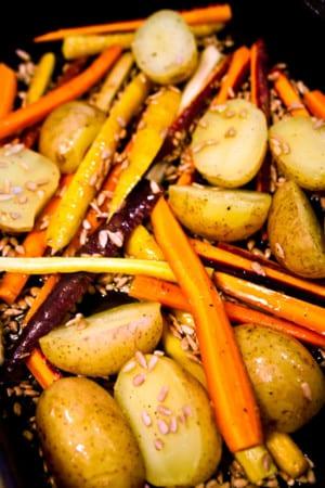 Morötter, potatis och solrosfrön
