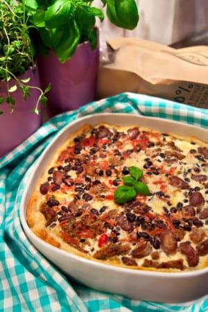 Bönpaj med köttfärs, mozzarella och rödbetor