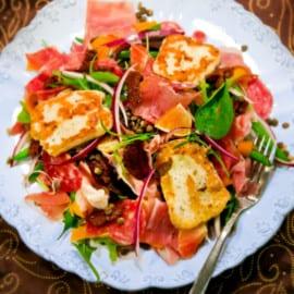 Medelhavsinspirerad köttsallad med blodapelsin och linser