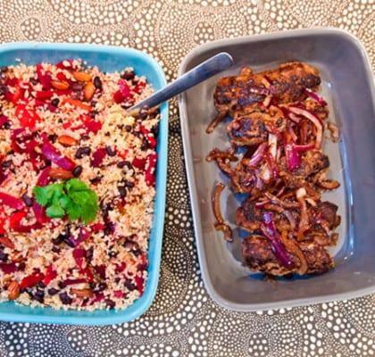 Järpar med curry och ljummen quinoasallad