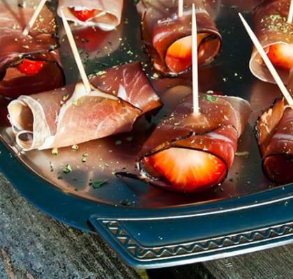 Skinklindade jordgubbar