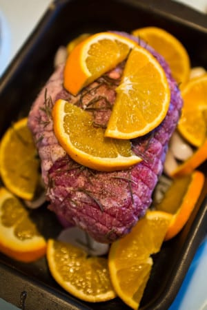 Lammstek i ugn med apelsin och rosmarin