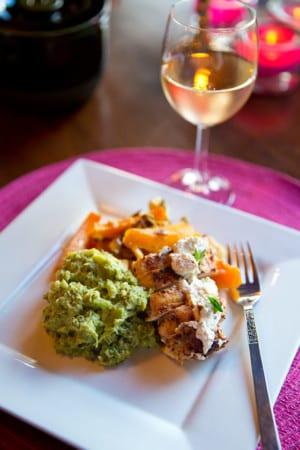 Grillad kyckling med rostad pumpa och broccolicreme