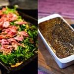 Laxsida ost och bacon, vitlökssås och randig linsgratäng