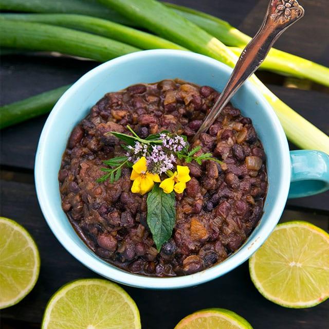Fried black beans