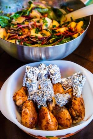Kycklingklubbor med fransk potatissallad