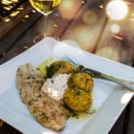 Grillad fisk med smörslungad potatis och kräftröra
