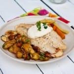 Stekt fiskfilé med rostad kantarell och potatissallad