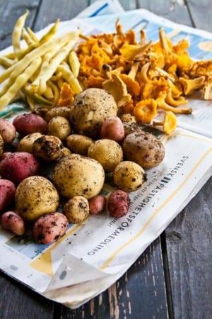 Råvaror, potatis, kantareller och bönor