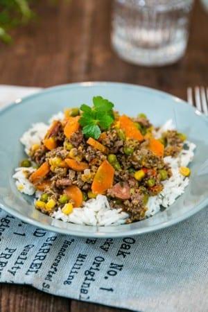 Köttfärsfräs med ris
