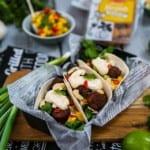 Tacos med friterad järpish och fruktsalsa
