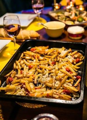 Grillad kungskrabba med pommes frites i ugn