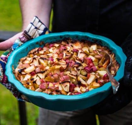 Enkel paj med rabarber och äpple