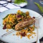 Köttfärsspett med linssallad