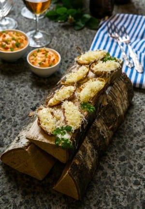 Friterade potatisskal med Västerbottensost