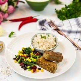 Stekta linspinnar med ris och grönsaker
