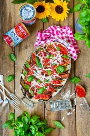 Italiensk gratäng med aubergine, zucchini och kyckling