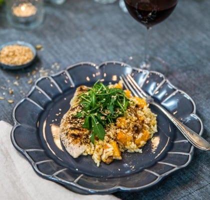 Panngrillad kycklingfilé med svamp- och pumparisotto