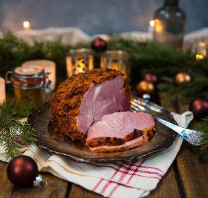 Julskinka med röd griljering