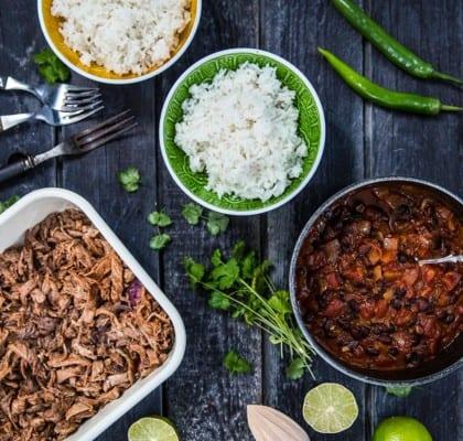 Pulled pork med ris och tomatsalsa