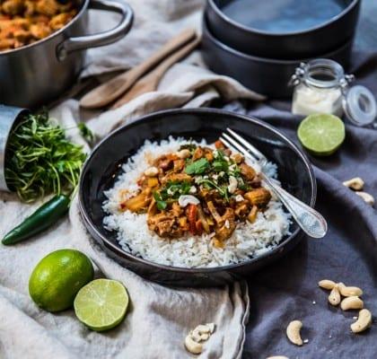 Kycklingwok med wokgrönsaker och caschewnötter
