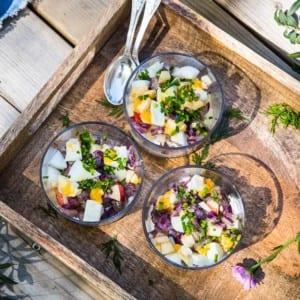 Matjessill i glas med pepparrotsgrädde och äpple