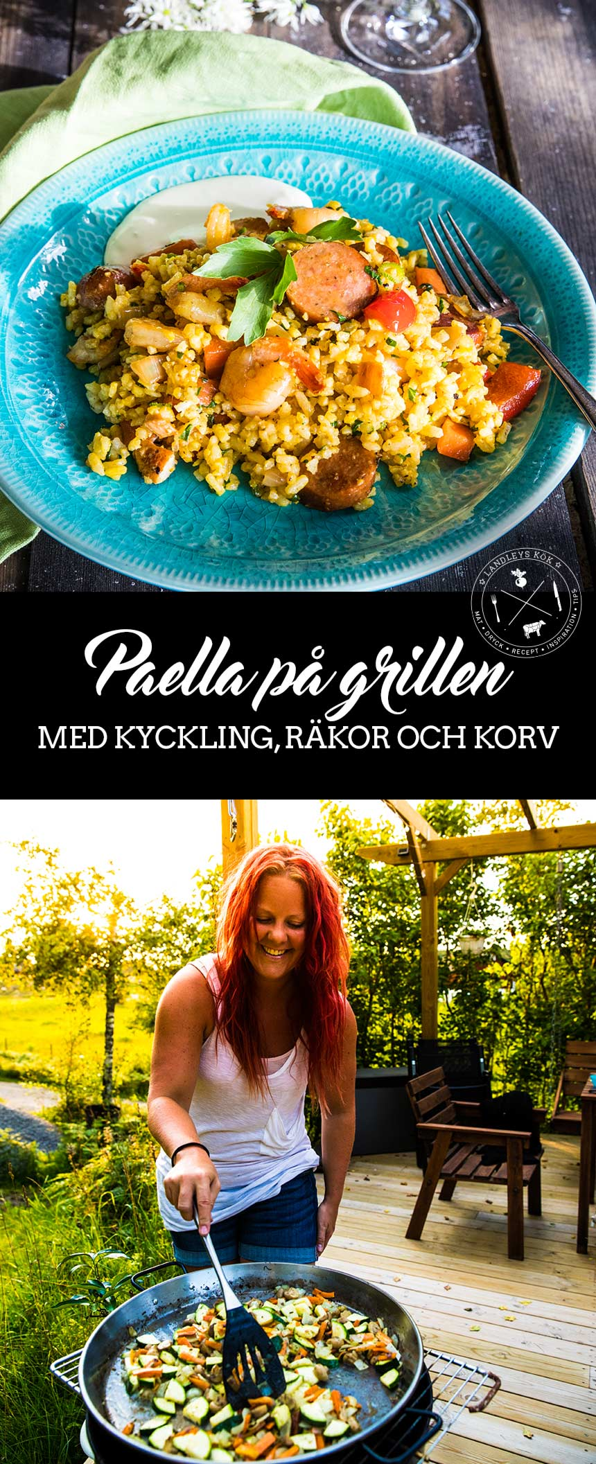 Paella på grillen med kyckling, räkor och korv