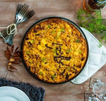 Quiche utan pajskal med ost, soltorkade tomater och bacon