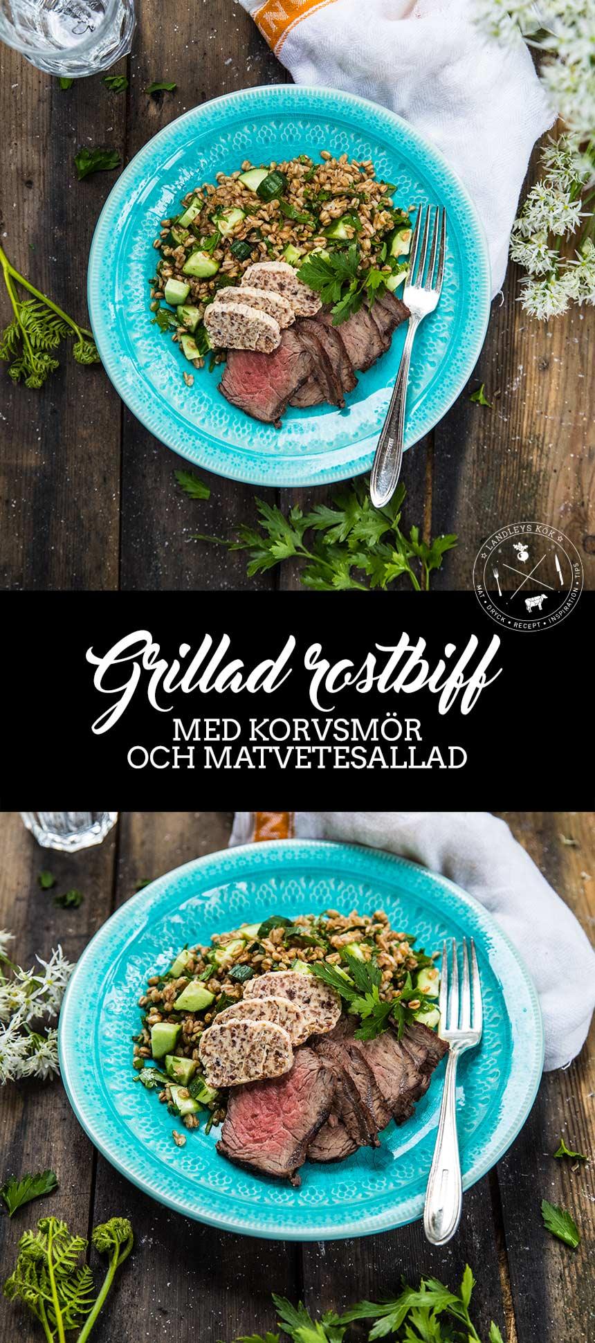 Grillad rostbiff med korvsmör och matvetesallad
