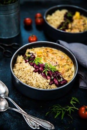 Kycklinggryta med grädde, paprika, bacon och champinjoner