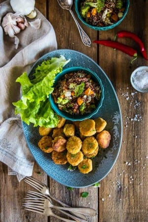 Hemmagjord falafel med quinoasallad