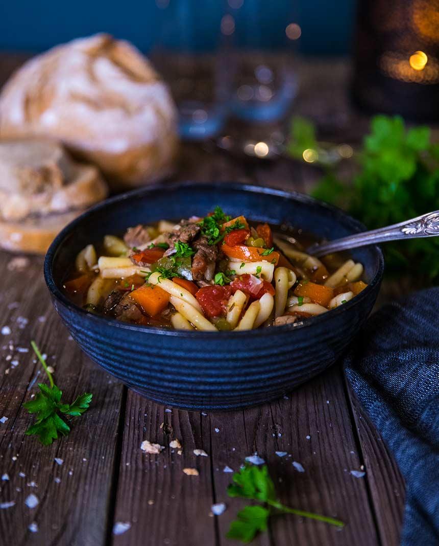 Gulasch med pasta