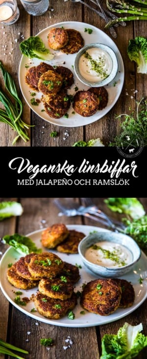 Röda, veganska linsbiffar med jalapeño och ramslök