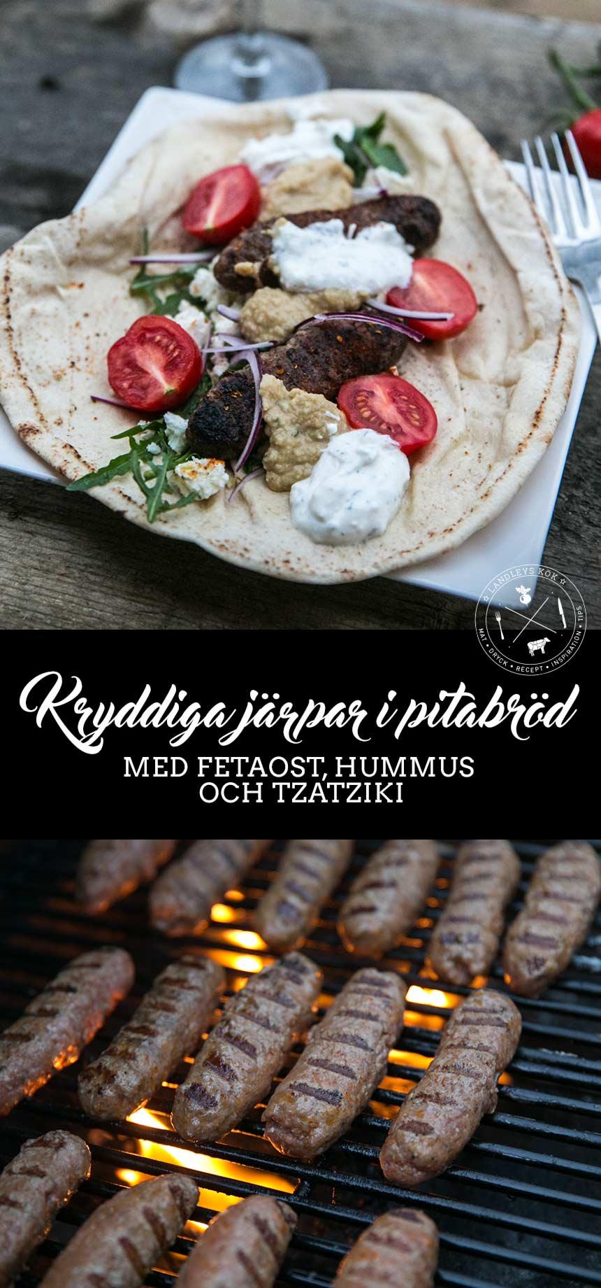 Kryddiga järpar i pitabröd med fetaost, hummus och tzatziki