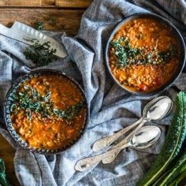 Marockansk vegetarisk gryta med linser och sötpotatis