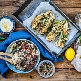 Zucchini i ugn med kyckling och couscoussallad