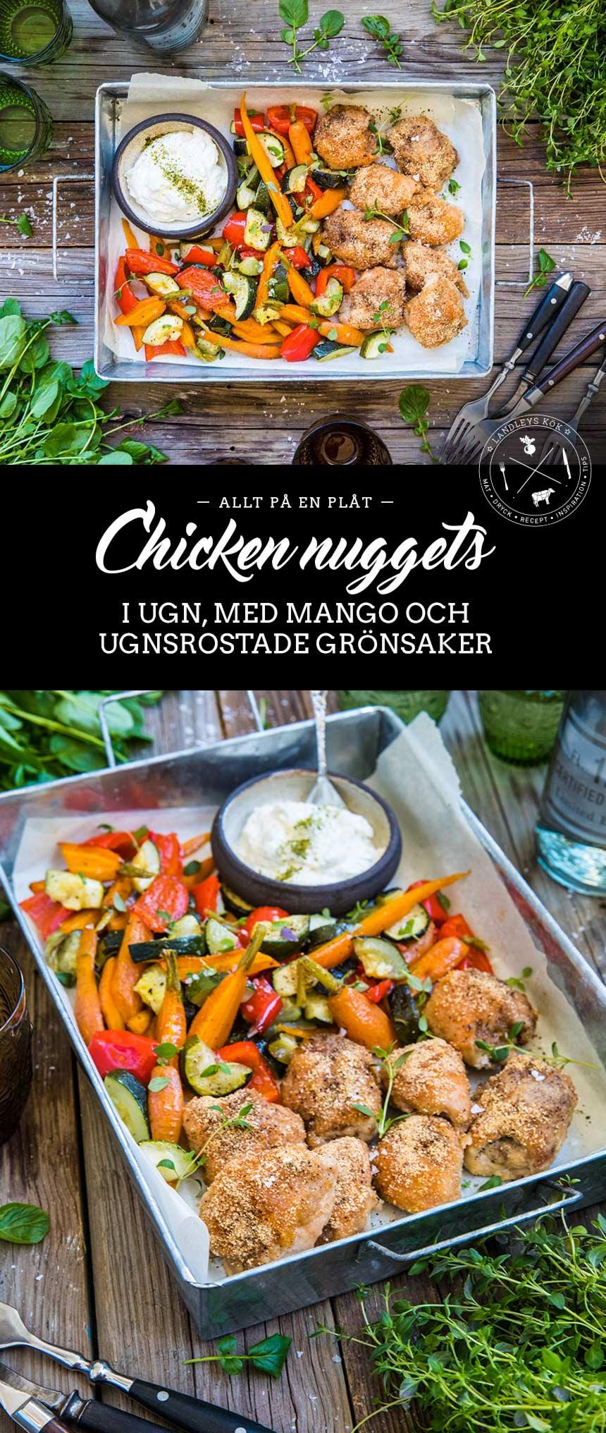 Chicken nuggets med mango och ugnsrostade grönsaker