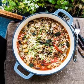 Italiensk kycklinggryta med pasta och aubergine